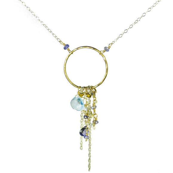 Vannucci Design by Justine Iolite Apatite Gold Pyrite Blue Topaz Tassel Necklace NG2011
