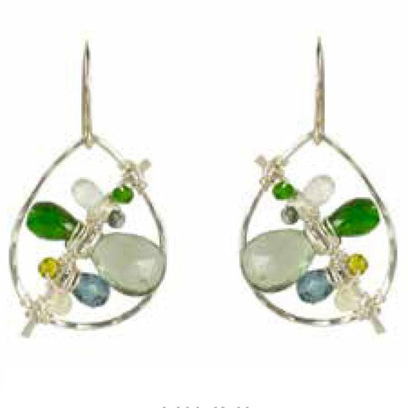 Vannucci Jewelry by Justine Moss Aqua Quartz Chrome Diopside Aqua Opal Green Zircon Earrings E019OF
