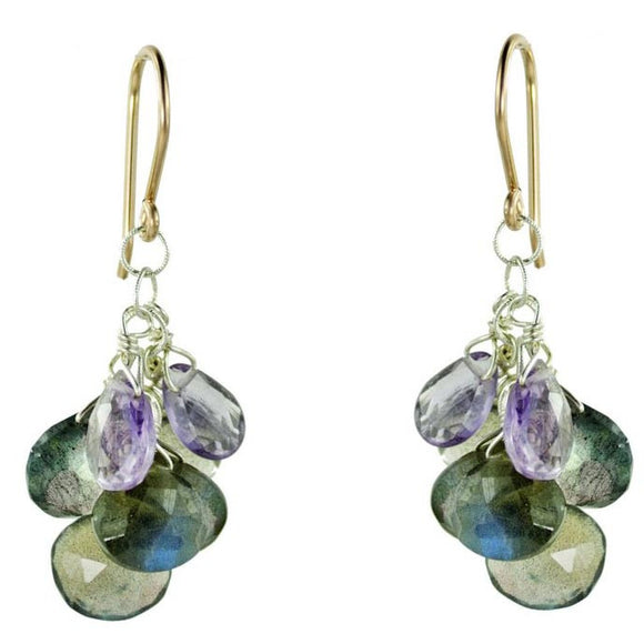 Vannucci Design by Justine Pink Amethyst and Labradorite Cascade Earrings EO067