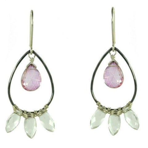 Vannucci Design by Justine Pink Mystic Topaz and Clear Quartz Efulgent Pink Earrings EG021
