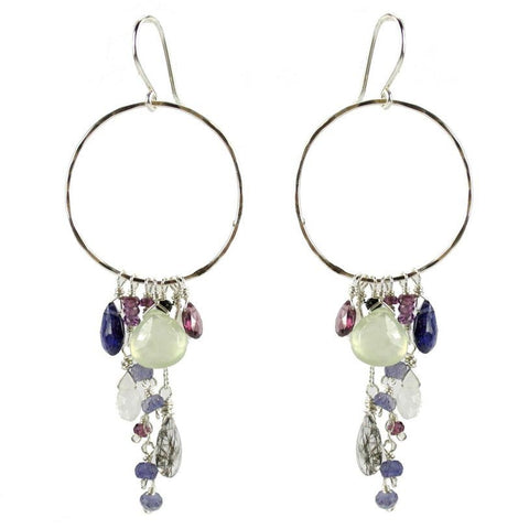 Vannucci Design by Justine Prehnite Rutilated Quartz Rhodolite Garnet Spinel  and Iolite Tuscany Wine Country Hoop Earrings ER050