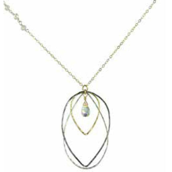 Vannucci Jewelry by Justine Quartz Moonstone Necklace N2086FIRE