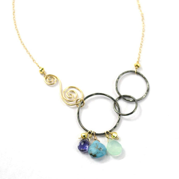 B.Vannucci Design by Justine Turquoise Chalcedony Iolite and Gold Pyrite Joyful Swirl Necklace NM2045