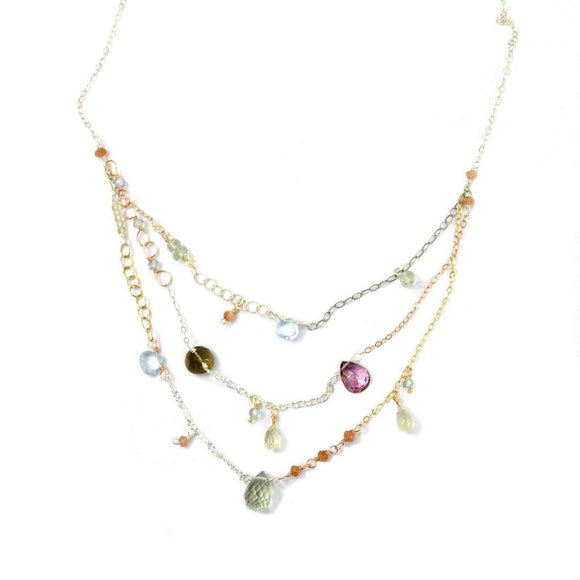 Vannucci Design by Justine Whisky Topaz Mystic Pink Topaz Blue Topaz Lemon Topaz Sunstone Apatite and Green Amethyst Luminarie Necklace NG2004
