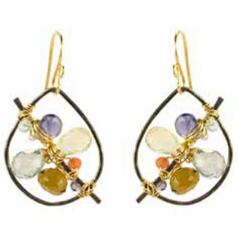 Vannucci Jewelry by Justine Mystic Green Quartz Iolite Lemon Topaz Whiskey Topaz Sunstone Aqua Earrings E002GOSS