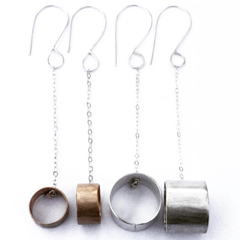 3D Circle Dangles Sterling Silver Earrings by Votive Designs Jewelry