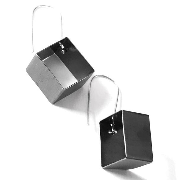 Votive Designs Jewelry 3D Diamonds Oxidized Sterling Silver Earrings 3DDE002 Artistic Artisan Designer Jewelry