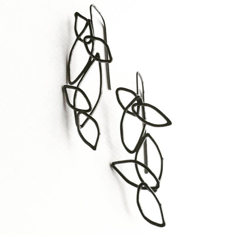 Fibonacci Leaf Cluster Oxidized Sterling Silver Earrings FLCE002 by Votive Designs Jewelry