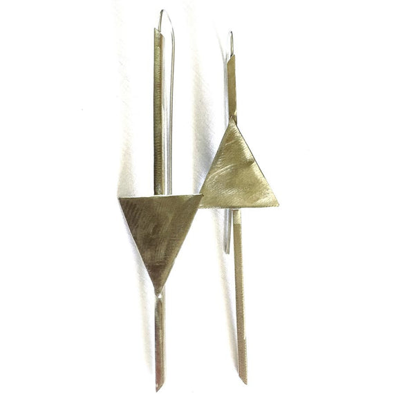 Votive Designs Jewelry Golden Arrow Sterling Silver and Brass Earrings GAE002 Artistic Artisan Designer Jewelry