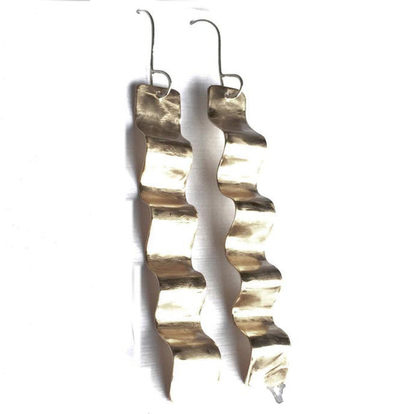 Votive Designs Jewelry Golden Wave Stick Earrings GWSE002 nArtistic Artisan Designer Jewelry