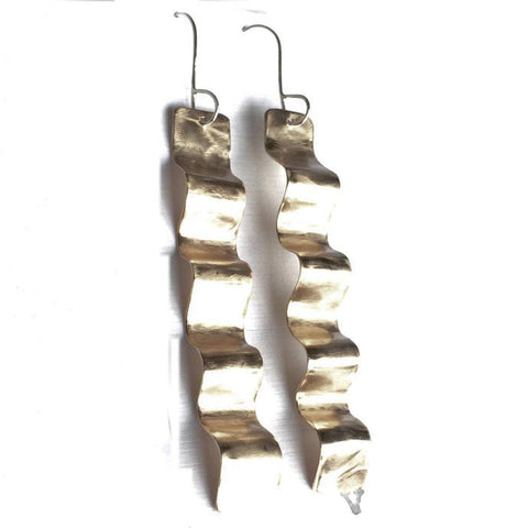 Golden Wave Stick Earrings GWSE002 by Votive Designs Jewelry