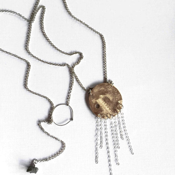 Votive Designs Jewelry Gyspy Moon Sterling Silver and Brass Necklace Artistic Artisan Designer Jewelry