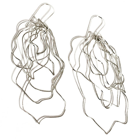 Messy Wire Wave Sterling Silver Earrings MWWE002 by Votive Designs Jewelry