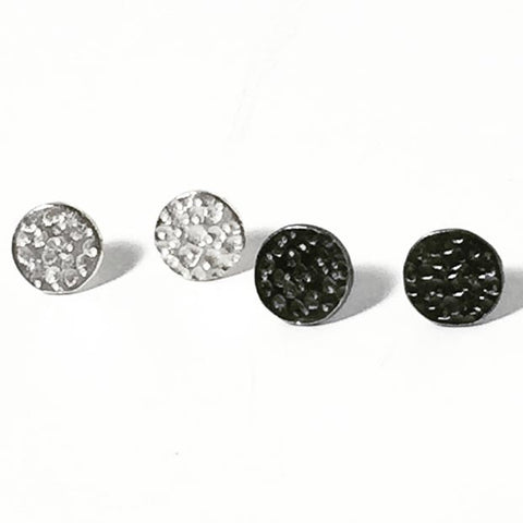 Mini Meteor Stud Oxidized and Sterling Silver Earrings MMSE002 by Votive Designs Jewelry