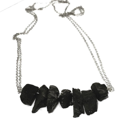 Modern Black Scry  Tourmaline and Sterling Silver Necklace MBSN001 by Votive Designs Jewelry