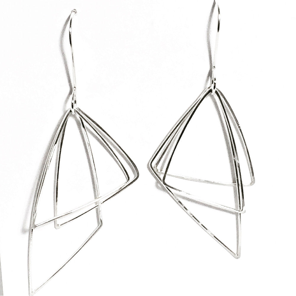 Moving Triangles Sterling Silver Earrings MTE002 by Votive Designs Jewelry, Artistic Artisan Designer Jewelry
