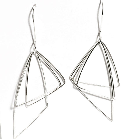 Moving Triangles Sterling Silver Earrings MTE002 by Votive Designs Jewelry
