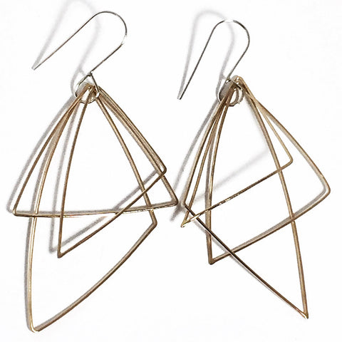 Moving Triangles 14K Gold Fill and Sterling Silver Earrings MTE002 by Votive Designs Jewelry