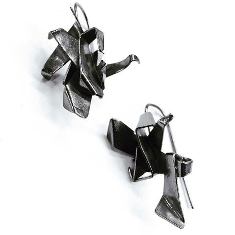 Night Cranes Oxidized Sterling Silver Earrings NCE002 by Votive Designs Jewelry