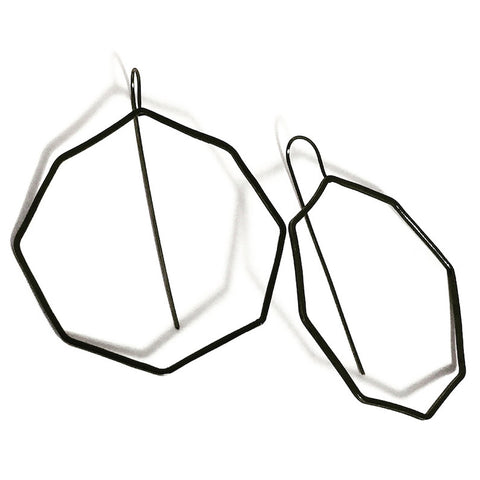 Octagon Mod Hoop Oxidized Sterling Silver Earrings OMHE002 by Votive Designs Jewelry