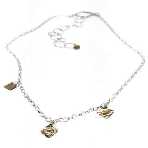 Sterling Silver and Brass Trinity Necklace BTN001 by Votive Designs Jewelry
