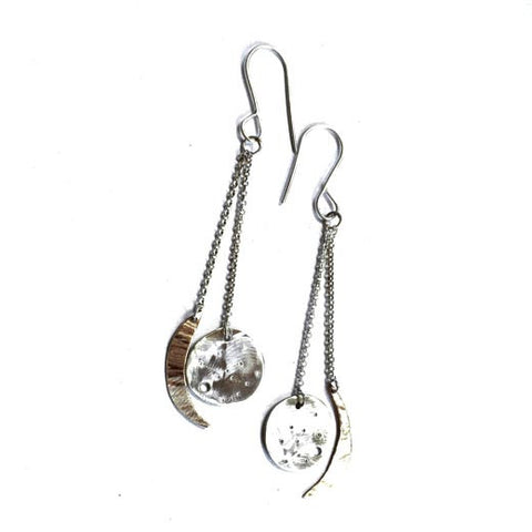 Votive Designs Jewelry Sun and Moon Dangles Sterling Silver and Brass Earrings SMDE002 Artistic Artisan Designer Jewelry