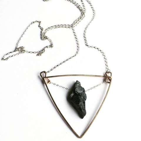 Votive Designs Jewelry Tourmaline Heart Sterling Silver and Brass