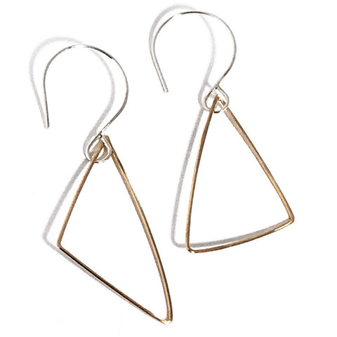 Triangle Solitaire 14K Gold Fill and Sterling Silver Earrings TSE002  by Votive Designs Jewelry
