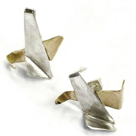 Votive Designs Jewelry Twin Flames Brass and Sterling Silver Earrings TFE002 Artistic Artisan Designer Jewelry