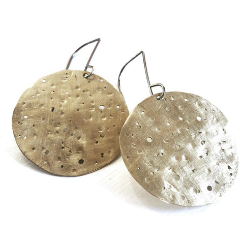 Wild Moon Disc Brass and Oxidized Sterling Silver Earrings WMDE002 by Votive Designs Jewelry