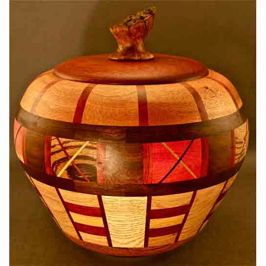 Winchester Woodworks Lidded Urn 1313, Artistic Artisan Wood Turned Urns
