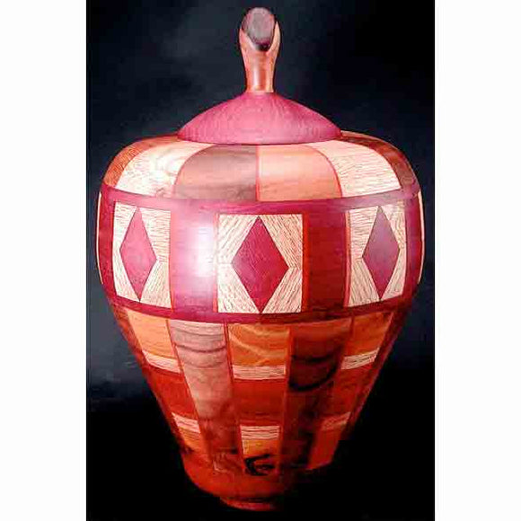 Winchester Woodworks Lidded Urn 56, Artistic Artisan Wood Turned Urns