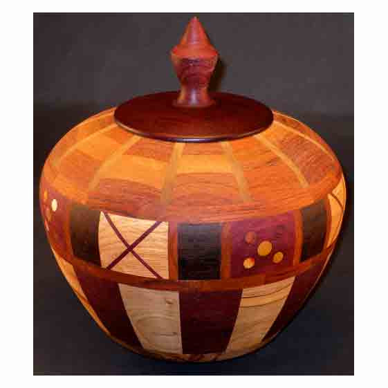 Winchester Woodworks Lidded Urn Small 118, Artistic Artisan Wood Turned Urns