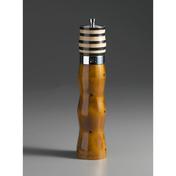 Wood Salt Shaker and Mill Grinder Combination in Natural Wood Black and White by Robert Wilhelm of Raw Design Artistic Artisan Designer Handmade Wood Salt And Pepper Mills Grinders and Shakers
