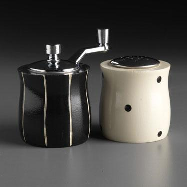 Wood Salt Shaker and Pepper Mill Grinder Mini Set in Black and White by Robert Wilhelm of Raw Design Artistic Artisan Designer Handmade Wood Salt And Pepper Mills Grinders and Shakers