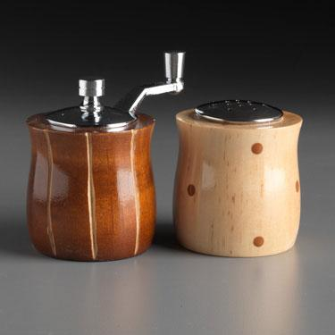 Wood Salt Shaker and Pepper Mill Grinder Mini Set in Brown and Natural Wood by Robert Wilhelm of Raw Design Artistic Artisan Designer Handmade Wood Salt And Pepper Mills Grinders and Shakers