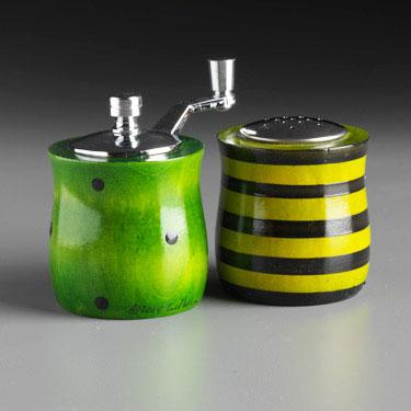 Wood Salt Shaker and Pepper Mill Grinder Mini Set in Green Lime and Black by Robert Wilhelm of Raw Design Artistic Artisan Designer Handmade Wood Salt And Pepper Mills Grinders and Shakers