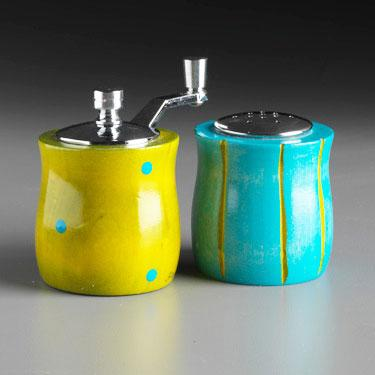 Wood Salt Shaker and Pepper Mill Grinder Mini Set in Lime and Aqua by Robert Wilhelm of Raw Design Artistic Artisan Designer Handmade Wood Salt And Pepper Mills Grinders and Shakers
