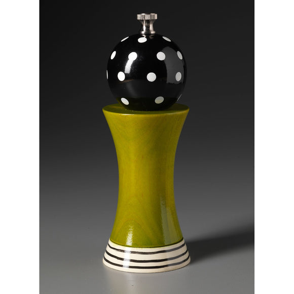 Wood Salt or Pepper Mill Grinder Alpha in Black Green and White by Robert Wilhelm of Raw Design Artistic Artisan Designer Handmade Wood Salt And Pepper Mills Grinders and Shakers