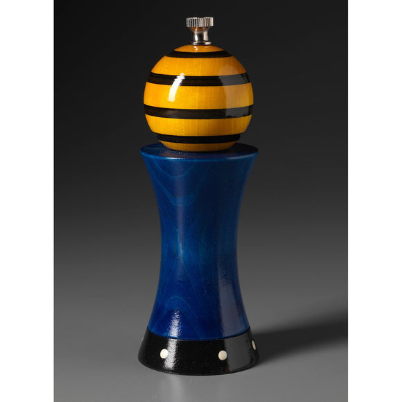 Wood Salt or Pepper Mill Grinder Alpha in Blue Yellow and Black by Robert Wilhelm of Raw Design Artistic Artisan Designer Handmade Wood Salt And Pepper Mills Grinders and Shakers