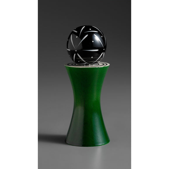 Wood Salt or Pepper Mill Grinder Alpha in Green Black and White by Robert Wilhelm of Raw Design Artistic Artisan Designer Handmade Wood Salt And Pepper Mills Grinders and Shakers