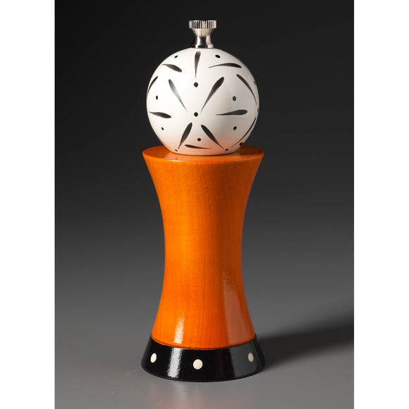 Wood Salt or Pepper Mill Grinder Alpha in Orange White and Black by Robert Wilhelm of Raw Design Artistic Artisan Designer Handmade Wood Salt And Pepper Mills Grinders and Shakers