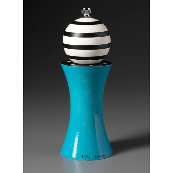 Wood Salt or Pepper Mill Grinder Alpha in Turquoise Black and White by Robert Wilhelm of Raw Design Artistic Artisan Designer Handmade Wood Salt And Pepper Mills Grinders and Shakers