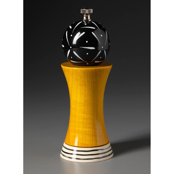 Wood Salt or Pepper Mill Grinder Alpha in Yellow Black and White by Robert Wilhelm of Raw Design Artistic Artisan Designer Handmade Wood Salt And Pepper Mills Grinders and Shakers