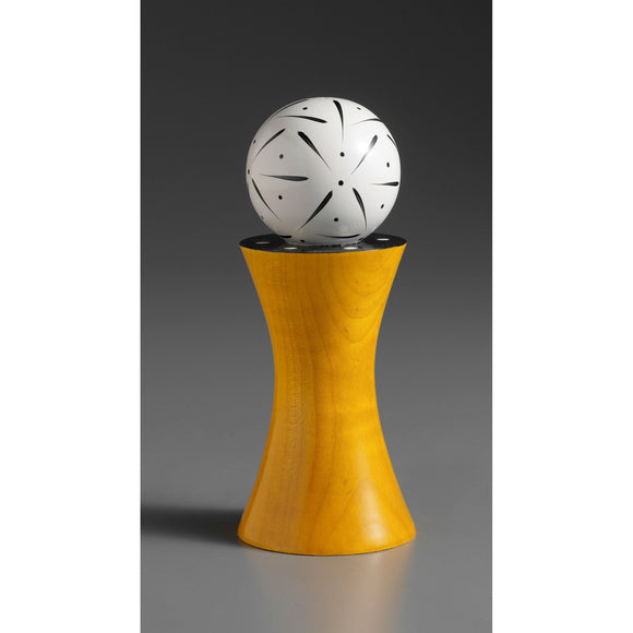 Wood Salt or Pepper Mill Grinder Alpha in Yellow White and Black by Robert Wilhelm of Raw Design Artistic Artisan Designer Handmade Wood Salt And Pepper Mills Grinders and Shakers