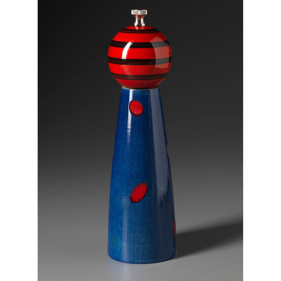 Wood Salt or Pepper Shaker or Mill Grinder Ellipse in Blue Red and Black by Robert Wilhelm of Raw Design Artistic Artisan Designer Handmade Wood Salt And Pepper Mills Grinders and Shakers