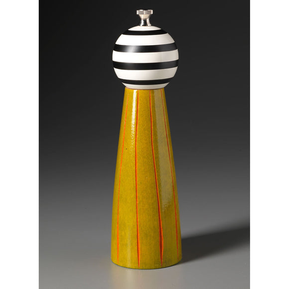Wood Salt or Pepper Shaker or Mill Grinder Grooved in Lime Orange Black and White by Robert Wilhelm of Raw Design Artistic Artisan Designer Handmade Wood Salt And Pepper Mills Grinders and Shakers