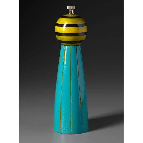 Wood Salt or Pepper Shaker or Mill Grinder Grooved in Turquoise Lime and Black by Robert Wilhelm of Raw Design Artistic Artisan Designer Handmade Wood Salt And Pepper Mills Grinders and Shakers