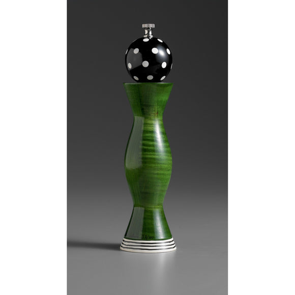 Wood Salt or Pepper Shaker or Mill Grinder Aero in Green Black and White by Robert Wilhelm of Raw Design Artistic Artisan Designer Handmade Wood Salt And Pepper Mills Grinders and Shakers