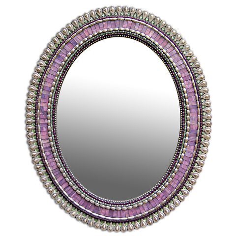 Zetamari Mosaic Oval Mirror in Purple Drop Artistic Artisan Designer Mirrors